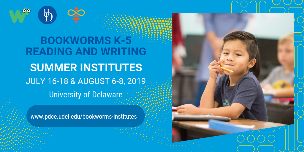 Boy pointing at a book in his lap. Text reads: Bookworms K-5 Reading and Writing Training Institutes